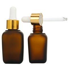 Aceite esencial al por mayor de 1 onzas de líquido ámbar 30ml frasco gotero de vidrio cuadrado