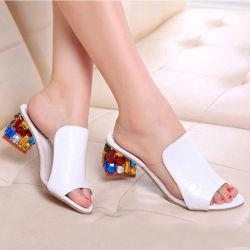 Zapatilla de Moda Mujer sandalias sandalias de tacón de cuña de alta calidad de cuero auténtico bombas sandalias de mujer zapatos punta abierta damas zapatillas