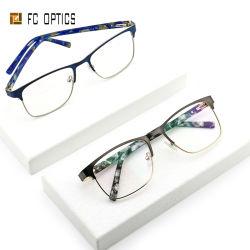 近視の最新の製造業者の流行の青い軽いフィルター反青い光線のアセテートの女の子の女性の人のためのハンドメイドの先端の金属の光学フレームの表示目ガラス