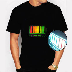 Custom Fashion Design LED Sound Activated EL Party Jersey T Camisa