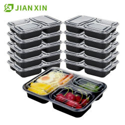 De beschikbare Plastic Container van het Voedsel van de Doos van de Lunch Bento van 2 Compartiment Plastic Meeneem