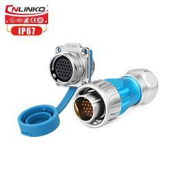 Metal de 24 pines Cnlinko resistente al agua IP67 hembra conector eléctrico con tapa