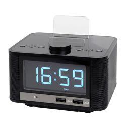 Радиочасы Беспроводная мини-стерео АС подставки для мобильных телефонов тревоги с зарядного устройства USB порт