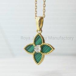 collana naturale placcata oro dell'argento sterlina del diamante 925 di Glover 18K