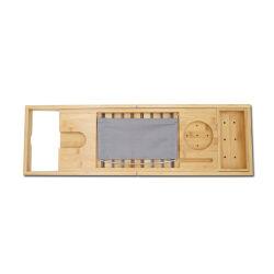 バンブーバスタブオーガナイザー - ナチュラルウッドバスタブキャディートレイ(ワインホルダー付き)、カップの配置、ソープディッシュ、ブックスペース、スパ用電話スロット