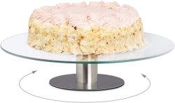 Revolving 360 graus de bolo de vidro suporte de sobremesa de Camada 1 Bandeja de vidro fontes de terceiros