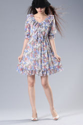 Schönes kragenloses Kleid Blumenc$v-stutzen wasserlösliche Spitze-der halben Hülsen-Frauen