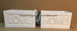 Caixa de armazenamento de madeira personalizado Caixa criativa na caixa de madeira, pintura branca