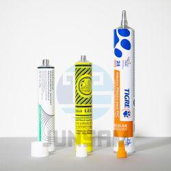 Boquilla larga de embalaje de productos químicos de pintura de pigmento de aluminio de impresión Offset de embalaje suave que contiene el tubo de pegamento adhesivo
