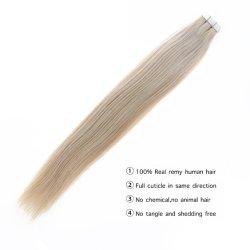 2,5 Ггц/частей тела волна Virgin невидимый PU Weft коричневого цвета 4# 100% европейского человеческого волоса реального Virgin ленты для волос