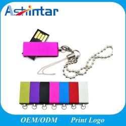 presente de promoção Cartão USB Logotipo Customed Giratório de Metal Mini-Unidade Flash USB