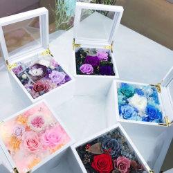 Fleurs préservé la Boîte à musique Valentin cadeau de fleur avec éclairage
