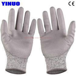 Cut-Resistant кевлара гильзу с PU покрытием защитную рабочие перчатки