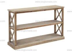 Mensola laterale di legno ripresa bianca dell'abete dell'annata della lavata industriale antica della mobilia