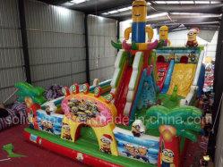 Qualidade superior 0.55mm Bouncer castelo insuflável de PVC encaracolados adultos deslize para o parque de diversões
