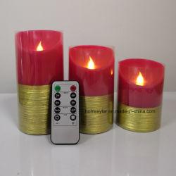 Luz de Vela Flameless cor vermelha com efeito escovado Ouro, verdadeira luz de vela de cera com controle remoto chave 10 +A função de temporizador
