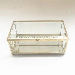 Contenitore di monili di vetro incorniciato rame di lusso dell'oro del metallo
