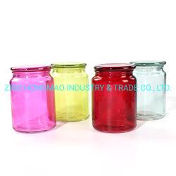 de 700ml Gekleurde die Container van de Container van de Kruik van de Kaars van het Glas 300ml 500ml met Deksel wordt geplaatst