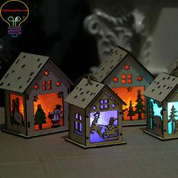 Casa de Navidad Regalo de Navidad LED LED parpadeando regalo Caja de luz LED de color de vela regalo dibujo Caja de madera de regalo para dar un regalo