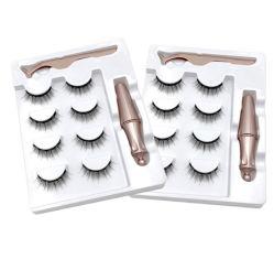 Magnetische Eyeliner Wimpern Set mit magnetischen Eyeliner 4 Paar Wimpern Pinzette Nein Kleber Custom Logo Verpackung Lashes
