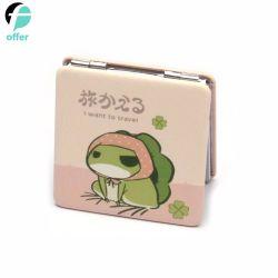 Poche de pliage carré grenouille voyage cosmétiques l'étiquette de maquillage beauté miroir à main