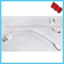 A alavanca multifuncional de 3 em 1 cabo de dados USB para iPhone, Samsung, HTC, Blackberry