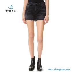 De langzaam verdwenen en Met bakkebaarden Hoge Borrels van het Denim van de Broek van de Magere Jeans van de Manier van de Dames van de Stijging/van Vrouwen Zwarte Mini