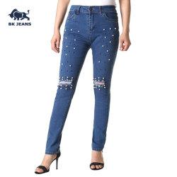 Lady's High-Rise Stretch Pantalones Skinny Jeans de Cordón de la uña