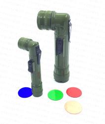 De plastic 3LED Toorts van de Hoek met 4PCS de Lens van de Kleur