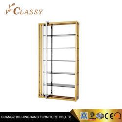 Estrutura em aço inoxidável dourado de metal estante de livros para Sala decoração de interiores
