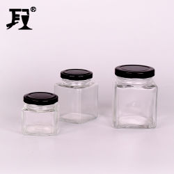 50 ml 80 ml 100 ml 120 ml 200 ml vaso quadrato di vetro vaso per alimenti Contenitore per conservazione con coperchio in metallo per marmellata di miele Sottaceti
