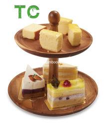 De natuurlijke Tiered Vertoning van het Dienblad van Rustieke van Cake 2 Servingstand van de Tribune Dienende