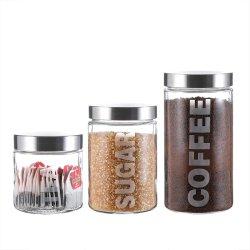 29/44/57oz Jar de stockage de verre avec couvercle En acier inoxydable pour le café et thé de sucre