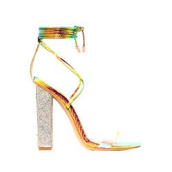 La radura del serpente merletta in su i pattini delle signore dei sandali delle donne dei talloni del blocchetto del diamante
