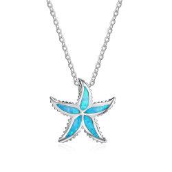 Décoration argent 925 Sterling cinq étoiles Collier Pendentif Opale Bleue bijoux (558813432754)