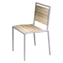 Meubles de salle à manger en bois de teck chaise de jardin en plein air en acier inoxydable