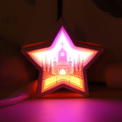 El papel de la moda de luces LED lámpara de noche Talla de corte láser 3D de la luz de tallado de papel