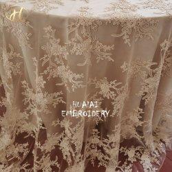 "Zhejiang 90 ""*156"" Rectangle Champagne Organza Plant Design Nappe brodée pour mariage decoration"