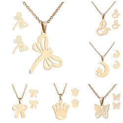 سحر العرس الفراشة القمر قلب القط عبور الذهب الفولاذ المقاوم للصدأ مجوهرات عقد من أجل النساء