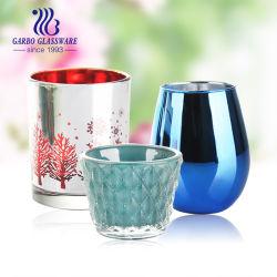 カスタマイズされたデザインホームに表の装飾水晶円形の個人化されたカラー奉納のガラス蝋燭ホールダー(GB2249-3)
