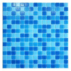 Расплавом квадратный голубой смешанный 20x20мм стеклянной мозаики плитка для бассейна