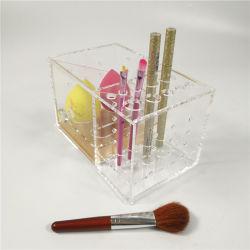 Maquillaje de acrílico transparente personalizado Organizador y titular de almacenamiento con cajón para cepillos/Esponja/camisa/Lápiz de Cejas