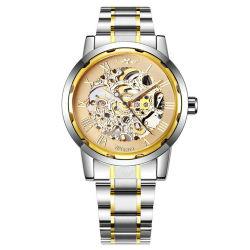 Vencedor 279 2020 novos relógios de ouro homens Vento Manual Mecânico do esqueleto Assista a tira de aço inoxidável Classic Relógios de pulso