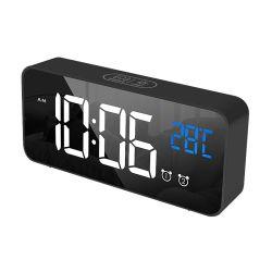 Doppia sveglia digitale LED, sveglia, sveglia, controllo vocale, funzione snooze Orologio a specchio