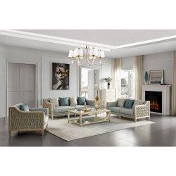 Moderne houten bank Glas Koffietafel stof woonkamer meubilair Sets