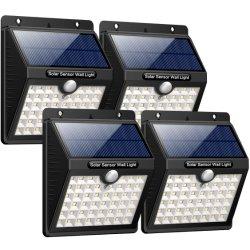 LED太陽ライト46LED超明るいPIR動きセンサー太陽ランプの屋外の庭の太陽壁ライトをつける赤外線機密保護の点