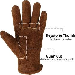 Guanti invernali in pelle scambrata Dark Brown con caldo Fodera in lana completamente acrilica