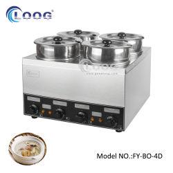 Grande capacidade de 110V 4 bandeja de prata Comercial Papinhas 600W Electric Tampo de Aço Inoxidável Vaporizador profunda Bain Marie sopa buffet quente Server