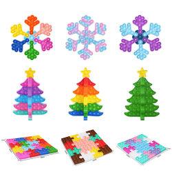 عيد ميلاد المسيح شجرة بناية كتلة تجميع الثلج مجذفة بسيطة دفع فقاعة