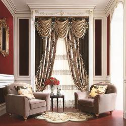 Neues Design Jacquard Blackout Fenster Luxus Valance Vorhänge mit angebracht Perlen